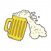 retro comic book style cartoon mug of beer