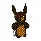 retro comic book style cartoon rabbit wearing spectacles