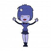 retro comic book style cartoon vampire girl