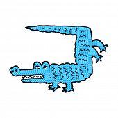 retro comic book style cartoon crocodile