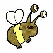 retro comic book style cartoon happy bee