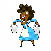 stock photo of milkmaid  - retro comic book style cartoon milkmaid carrying buckets - JPG