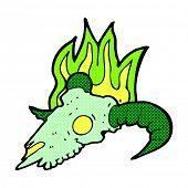retro comic book style cartoon magic ram skull