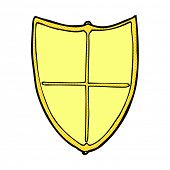retro comic book style cartoon heraldic shield