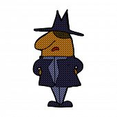 retro comic book style cartoon man in coat and hat