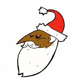 retro comic book style cartoon santa face