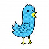 retro comic book style cartoon happy bird