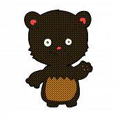 retro comic book style cartoon little black bear waving