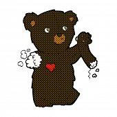retro comic book style cartoon teddy black bear with torn arm