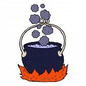 retro comic book style cartoon witch's cauldron