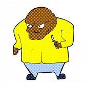 retro comic book style cartoon evil man