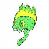 retro comic book style cartoon scary skull