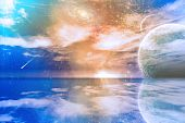 image of science fiction  - Alien World with still sea and moons - JPG
