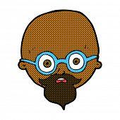 retro comic book style cartoon shocked man with beard