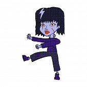 retro comic book style cartoon undead girl