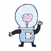 retro comic book style cartoon robot cyborg