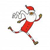 retro comic book style cartoon running santa