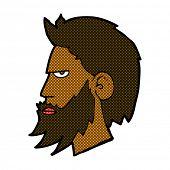 retro comic book style cartoon man with beard