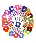 Handprints Circle Multicolor