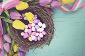 Retro Vintage Style Filter Happy Easter Background With Painted Easter Eggs In Birds Nest, And Yello