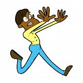 retro comic book style cartoon man running away
