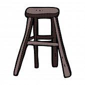 retro comic book style cartoon wooden stool