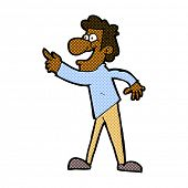 retro comic book style cartoon man pointing and laughing