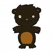 retro comic book style cartoon happy little black bear
