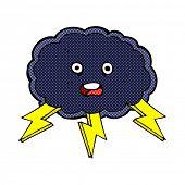 retro comic book style cartoon cloud and lightning bolt symbol