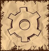 Gear icon isolated on vintage background
