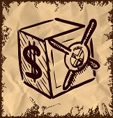 Cartoon safe icon isolated on vintage background