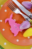 Happy Easter Bright Color Orange, Yellow And Green Polka Dot Theme Table Place Seeting With Pink Fon