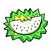 retro comic book style cartoon melon slice