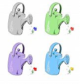 Watering can in different colors.