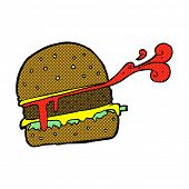 retro comic book style cartoon burger