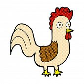 retro comic book style cartoon rooster