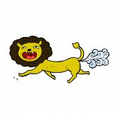 foto of fart  - retro comic book style cartoon farting lion - JPG