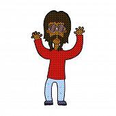 retro comic book style cartoon hippie man waving arms