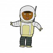retro comic book style cartoon astronaut