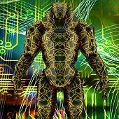 Cyborg posing on technological background