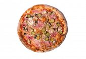 Delicious Italian pizza with ham, cucumber, and onion, isolated on white background