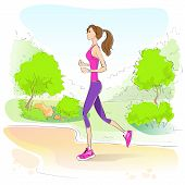 sport woman run with fitness tracker on wrist girl runner jogging in park outdoors training