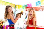 stock photo of dog birthday  - girl friends party excited with puppy chihuahua present dog in birthday - JPG