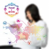 Vector Blurred Background With Infographics On Food And Drinks