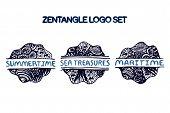 Detailed hand drawn zentangle logo set