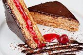 Esterhazy chocolate dessert pie with cherry jam decorated