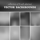 Set of eight vector blurred background.
