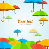 stock photo of rainy season  - Vector illustration colorful umbrellas fly - JPG