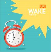 stock photo of countdown timer  - Vector illustration red wakeup clock card - JPG