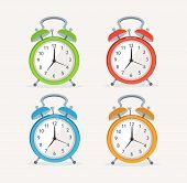 Vector wakeup clocks set. Flat Design
